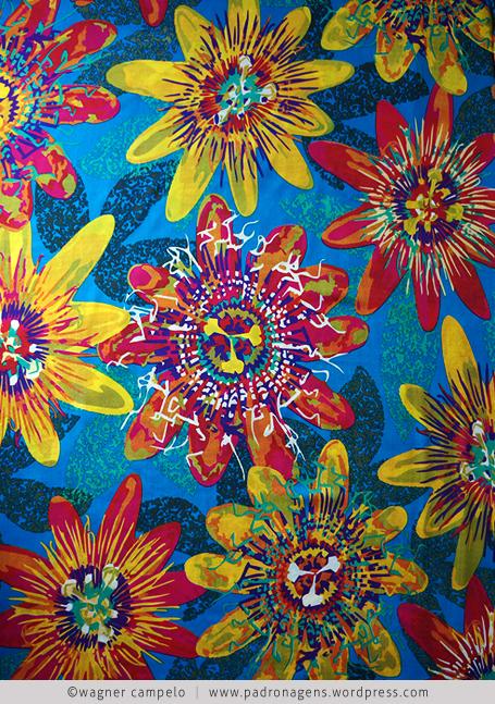 floral maracuja fundo azul