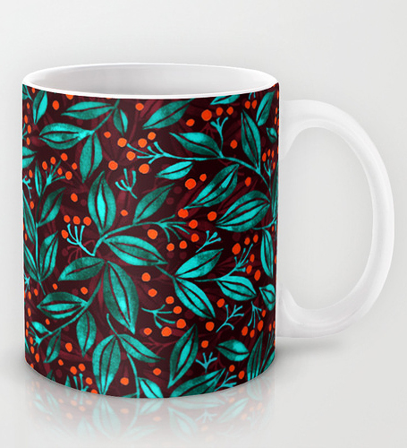caneca orange berries turquoise leaves